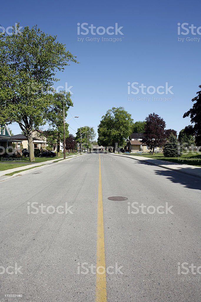 Empty Residential Street royalty-free stock photo