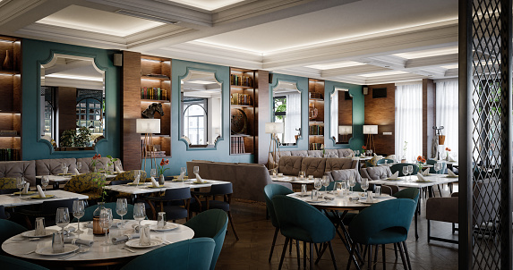 Digitally generated luxurious restaurant interior.  The scene was rendered with photorealistic shaders and lighting in Autodesk® 3ds Max 2020 with V-Ray 5 with some post-production added.