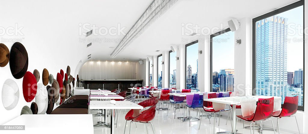 wide angle shot of an Empty restaurant.