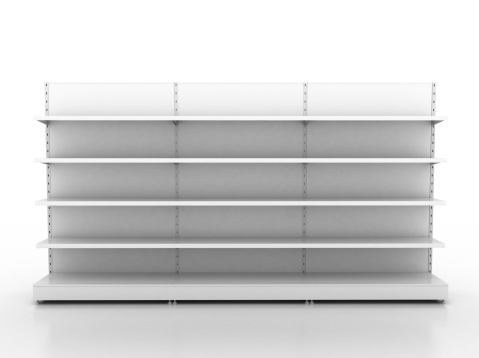 standart supermarket shelves- high res rendering