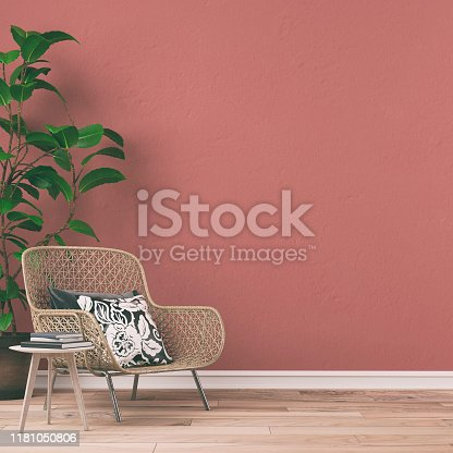 Empty retro interior on rose pink wall background on hardwood floor with copy space and decoration. Slight vintage effect added. 3D rendered image.