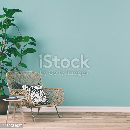 Empty retro interior on mint wall background on hardwood floor with copy space and decoration. Slight vintage effect added. 3D rendered image.