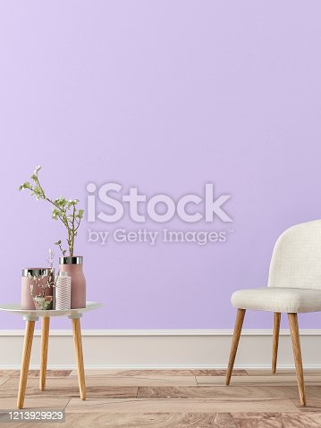 Empty retro interior on lavender plaster wall background on hardwood floor with copy space and decoration. Slight vintage effect added. 3D rendered image.