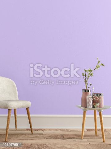 Empty retro interior on lavender wall background on hardwood floor with copy space and decoration. Slight vintage effect added. 3D rendered image.
