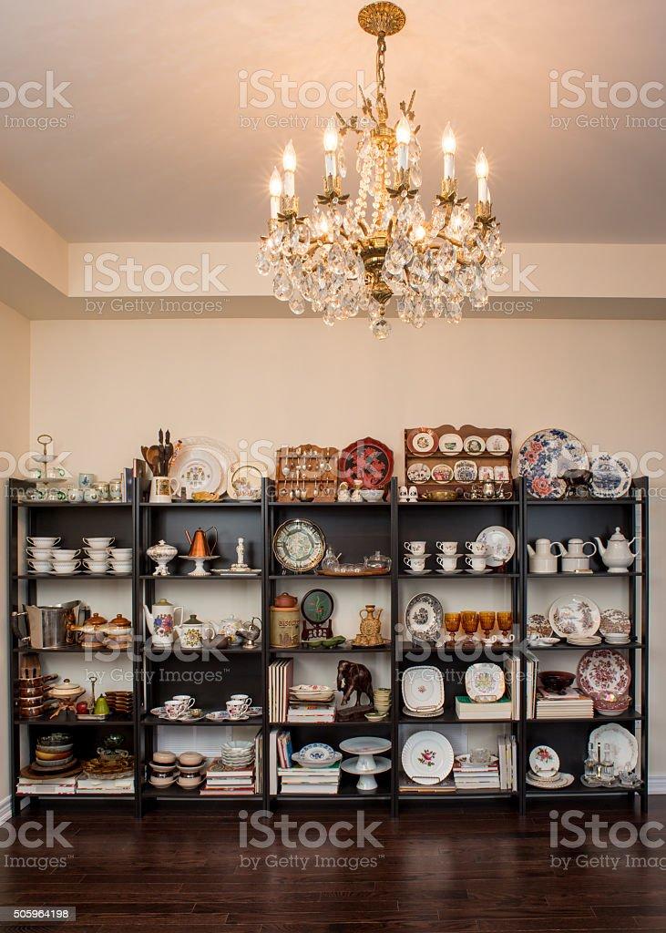Empty Retro / Vintage style dining room stock photo