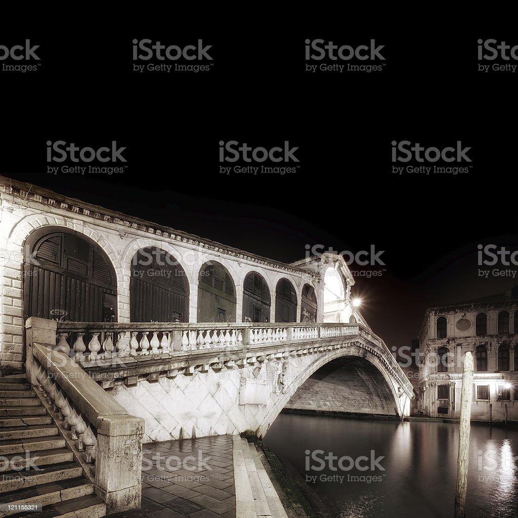 Empty Rialto at night royalty-free stock photo