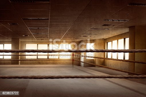 istock Empty ring boxing arena for training 623823722