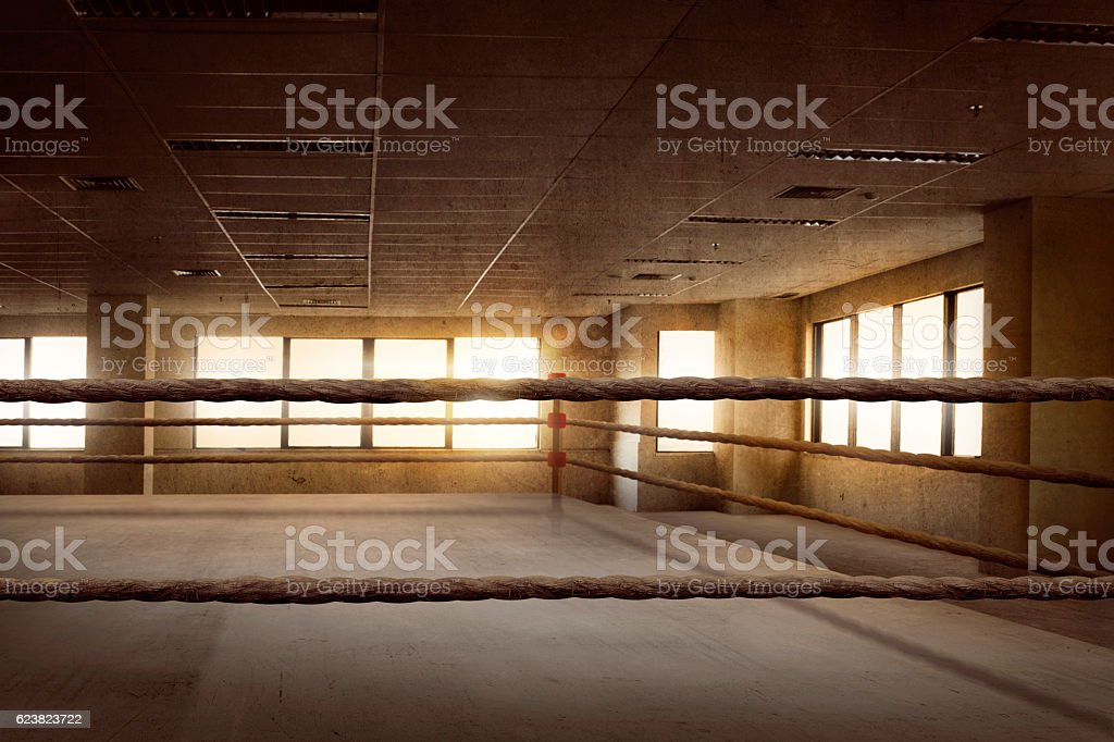 Empty ring boxing arena for training stock photo