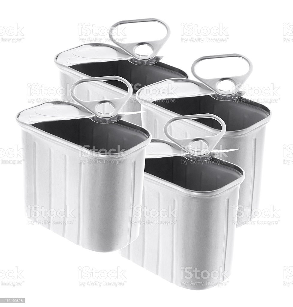 Empty Ring-Pull Tin Cans stock photo