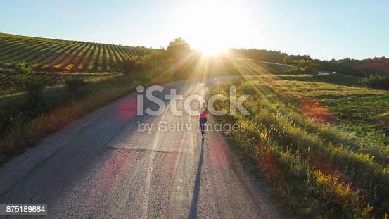 Young woman jogging in the countryside
