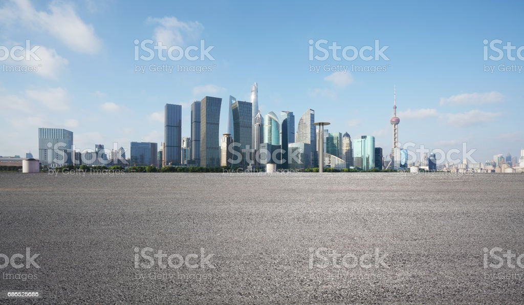 Empty road floor surface with modern city landmark buildings of Shanghai bund Skyline zbiór zdjęć royalty-free