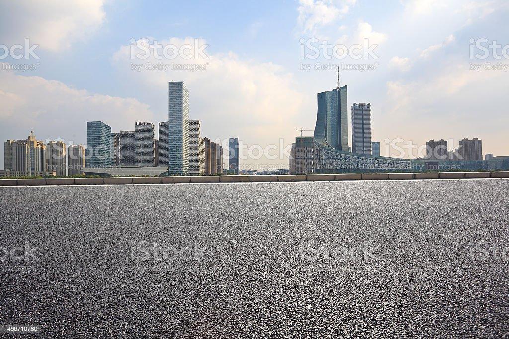 Empty road floor with City building background stock photo