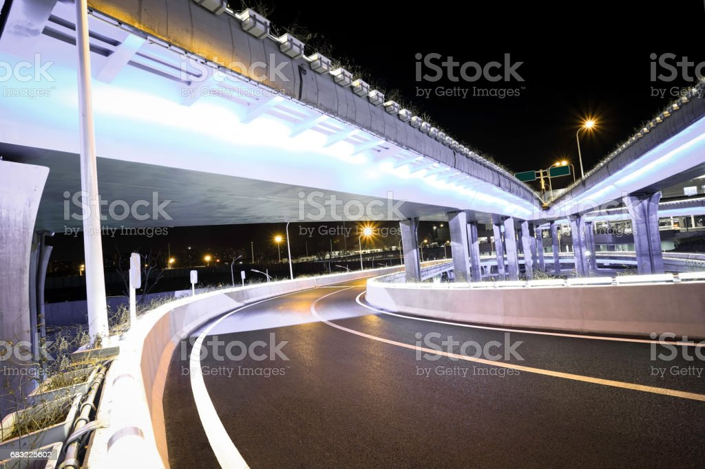Empty road floor with city overpass viaduct bridge ロイヤリティフリーストックフォト