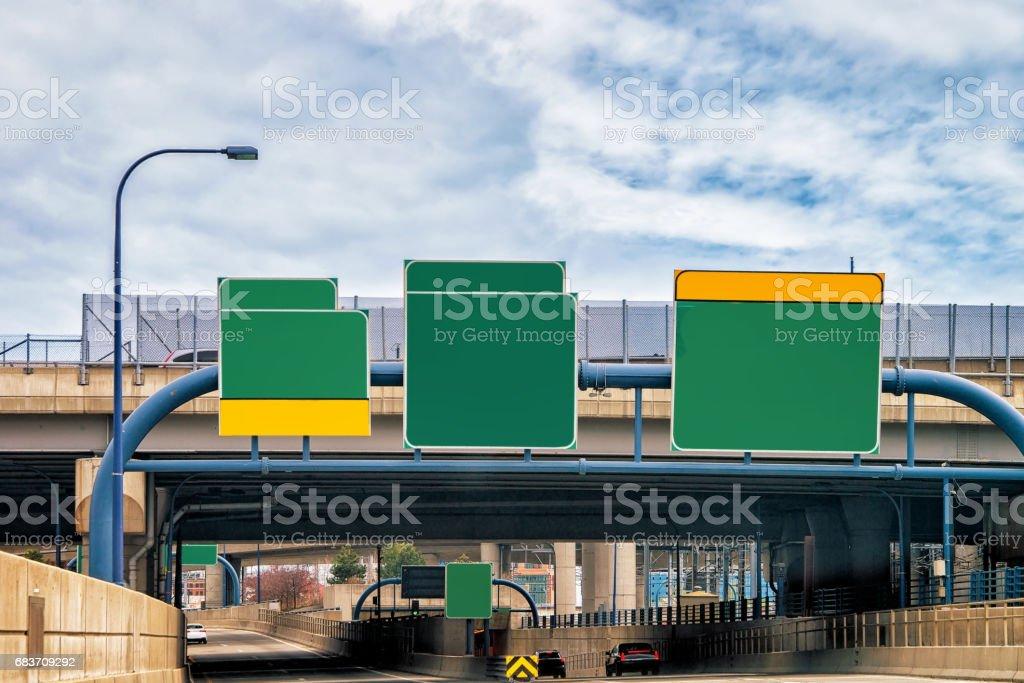 Empty Road indicator plates in Boston stock photo
