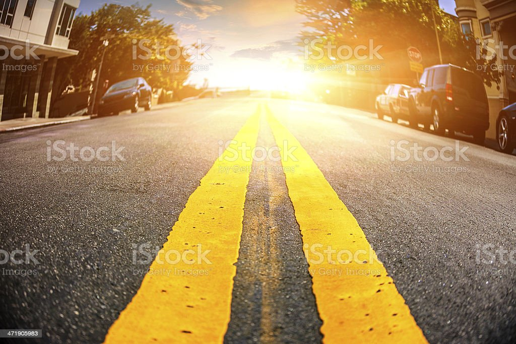 Empty road of a residental district in San Francisco stock photo