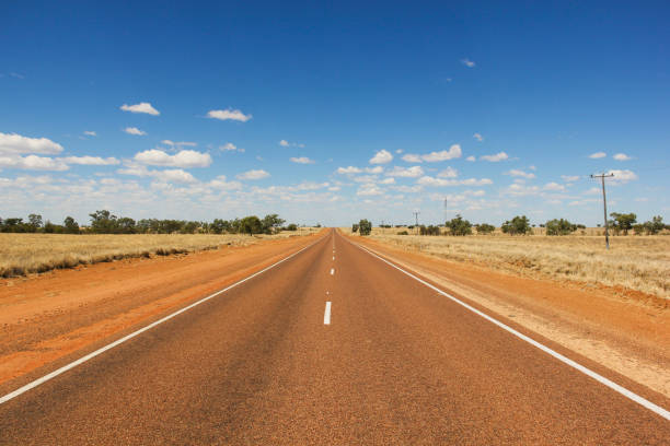 Empty road on a sunny day in the desert in Outback Australia stock photo