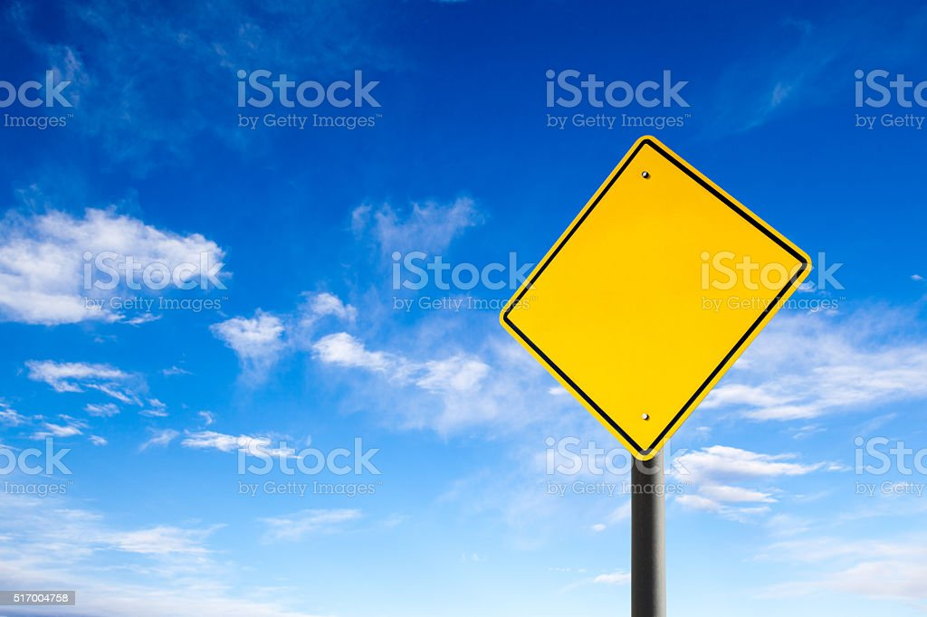 Empty Road Sign Against Blue Sky With Copy Space bildbanksfoto