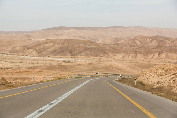 Empty road somewhere in Negev Desert  in Israel Empty road somewhere among rocks and sands in Negev Desert  near Mitzpe Ramon in Israel negev stock pictures, royalty-free photos & images