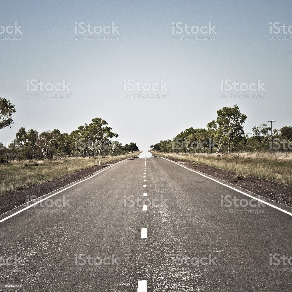 Empty Road to Nowhere, Australia stock photo