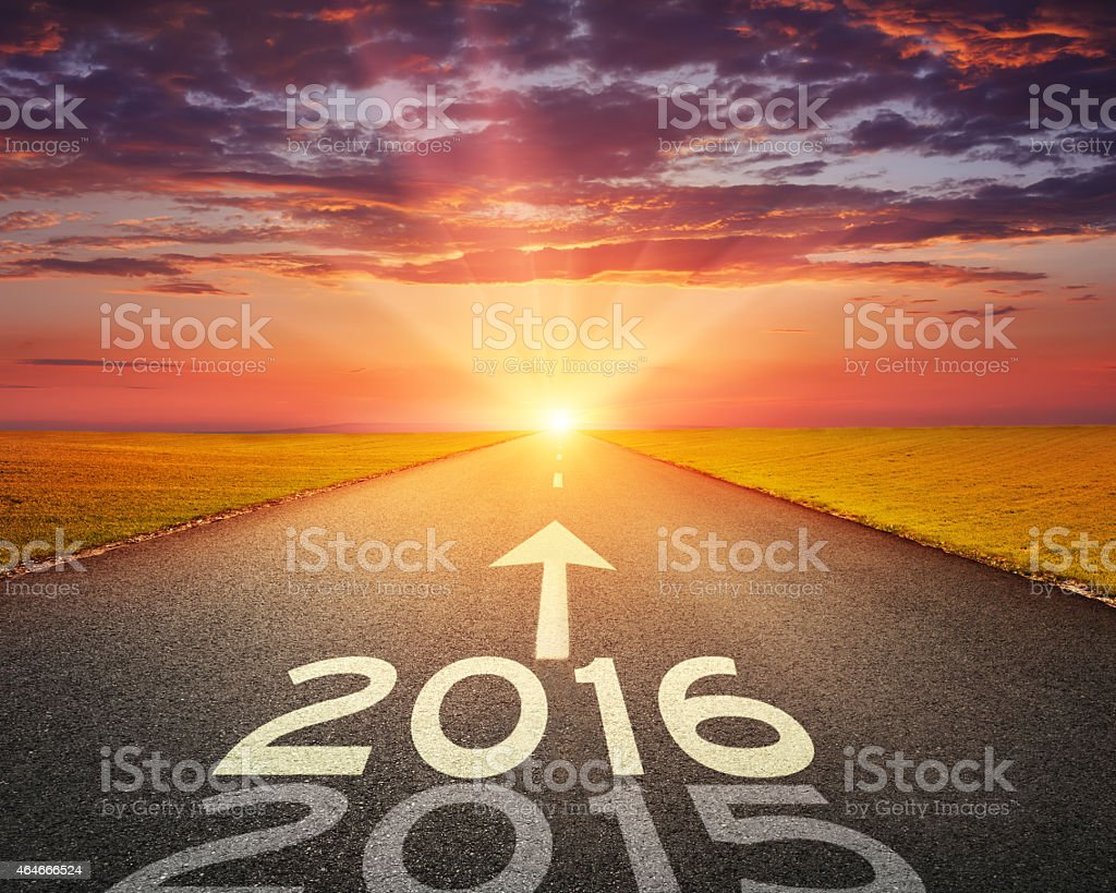Empty road to upcoming 2016 at sunset stock photo
