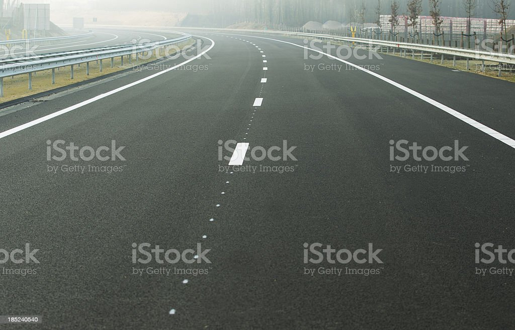 Empty road, two lane highway royalty-free stock photo