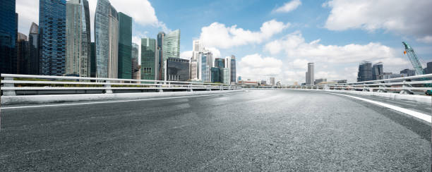 empty road with modern buildings stock photo