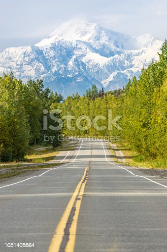 Empty road with mount Denali (mckinley) in the background, Alaska