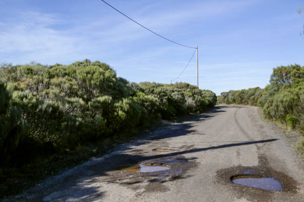 Empty road with pot holes in Australia stock photo
