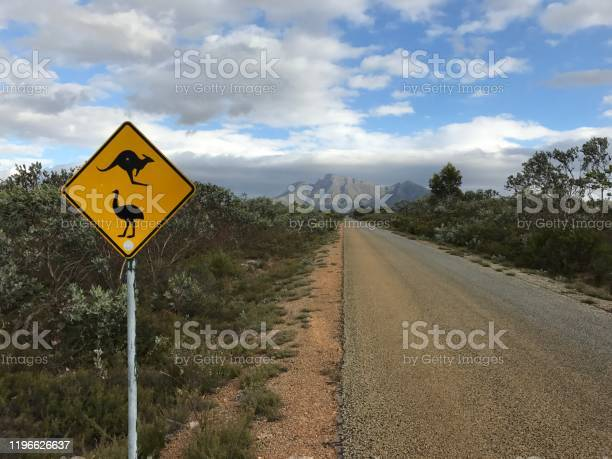 Photo of Empty road with traffic sign in Australia