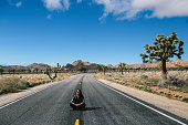 Young traveler woman, wearing vintage boho clothing, enjoying freedom and the beautiful nature in the Joshua Tree parts of the Mojave desert, sitting on an empty road.