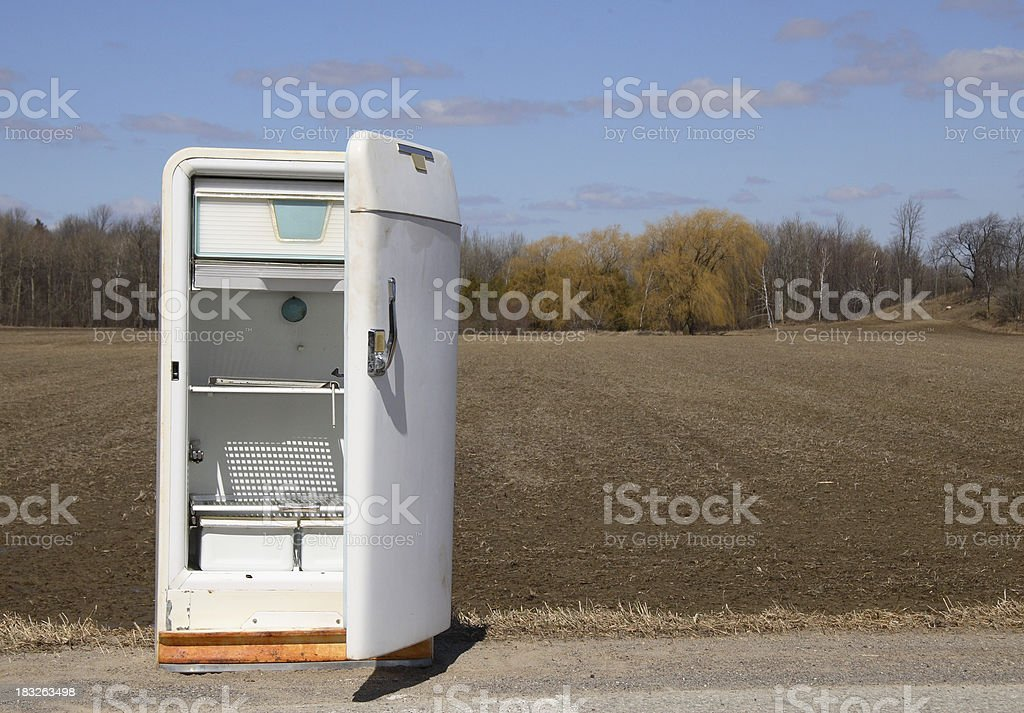 Empty Roadside Refrigerator stock photo