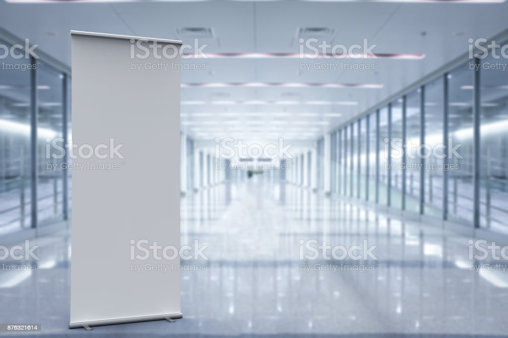 empty roll up banner stock photo