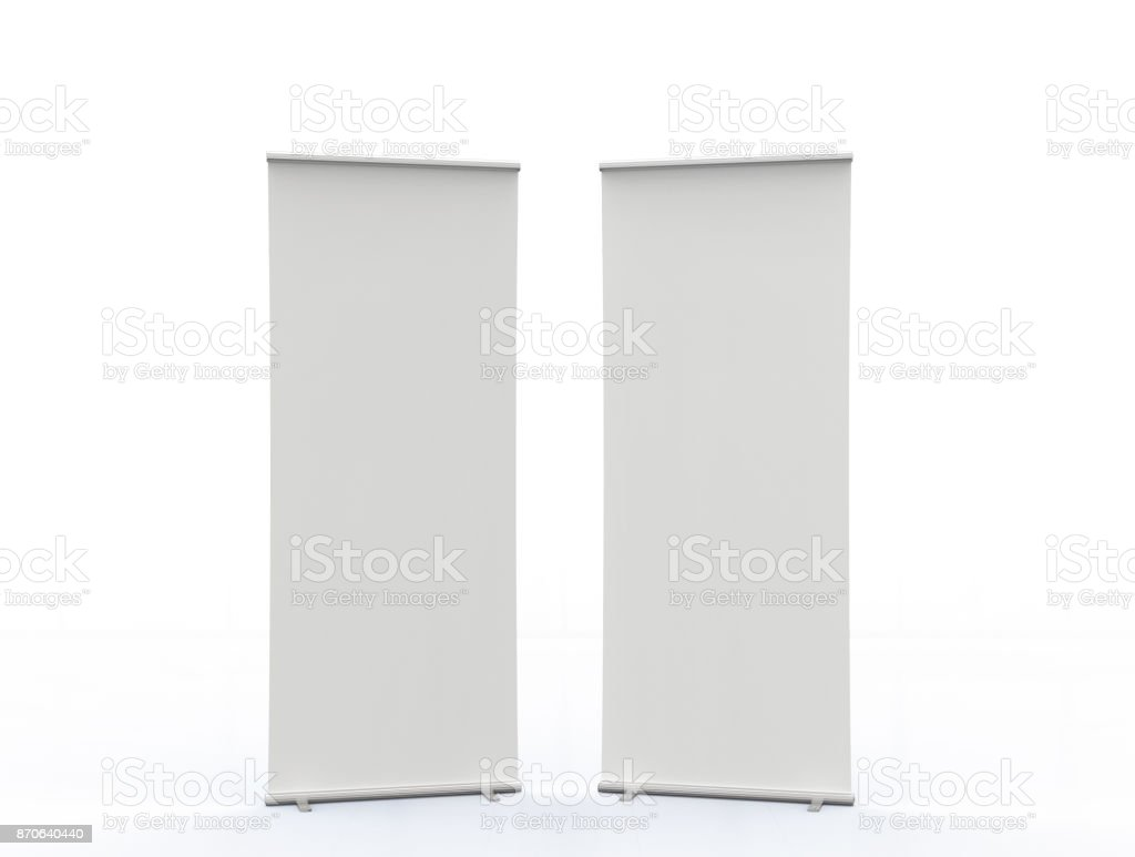 empty roll up banners stock photo