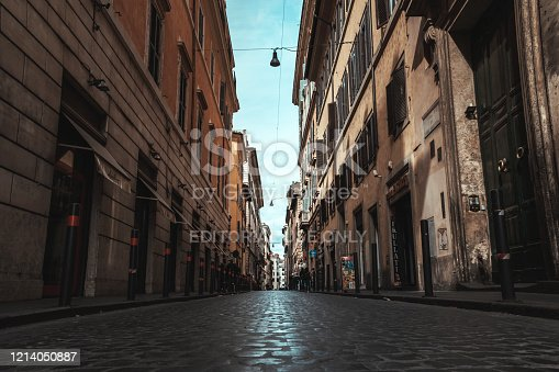 Rome, Italy - February 29, 2020: Empty roman streets due to the virus. Horizontal composition.