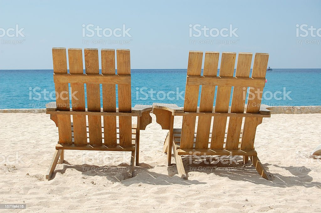 Empty Romantic Beach Chairs White Sand Overlooking Caribbean Travel Photography royalty-free stock photo