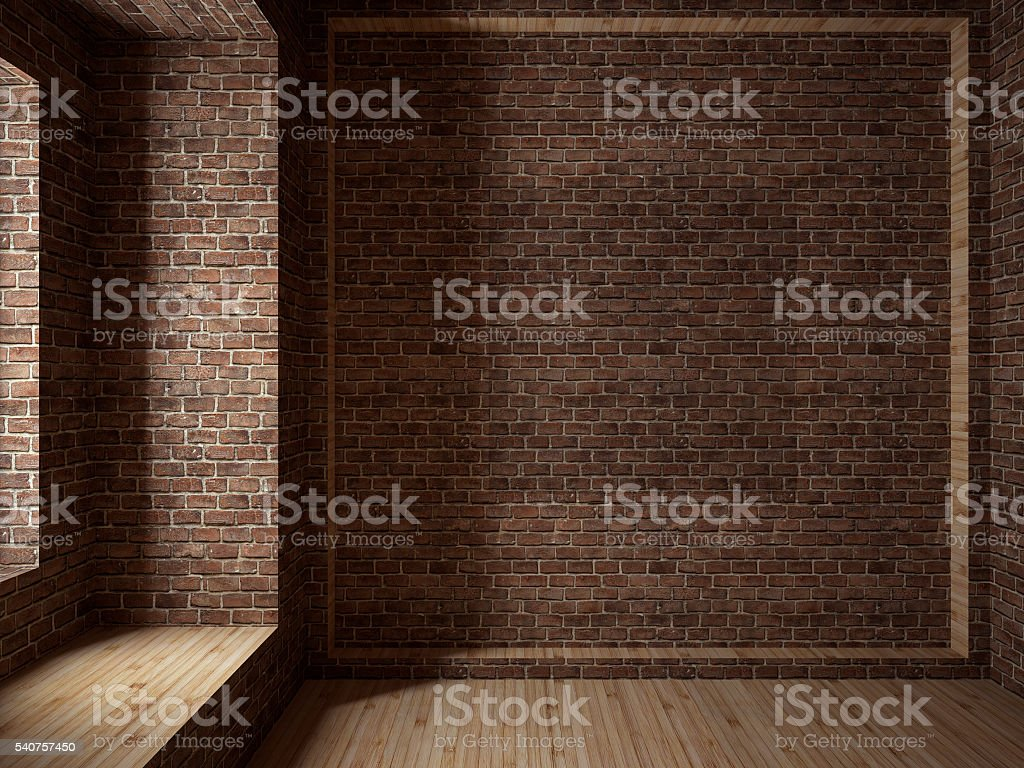 Empty room, 3D render stock photo