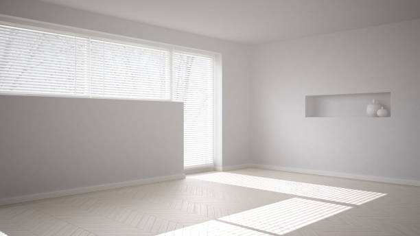 Empty room background with herringbone parquet and big window with venetian blind, white modern architecture interior design stock photo