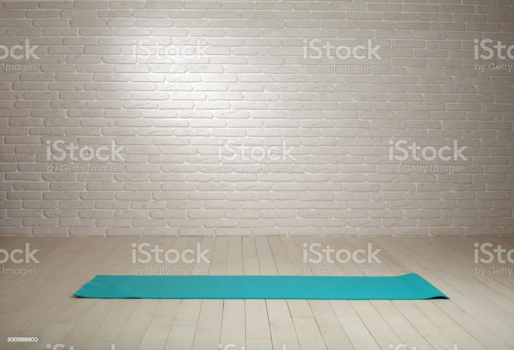 Empty Room Background Wooden Floor White Brick Wall Fit Mat Stock Photo -  Download Image Now