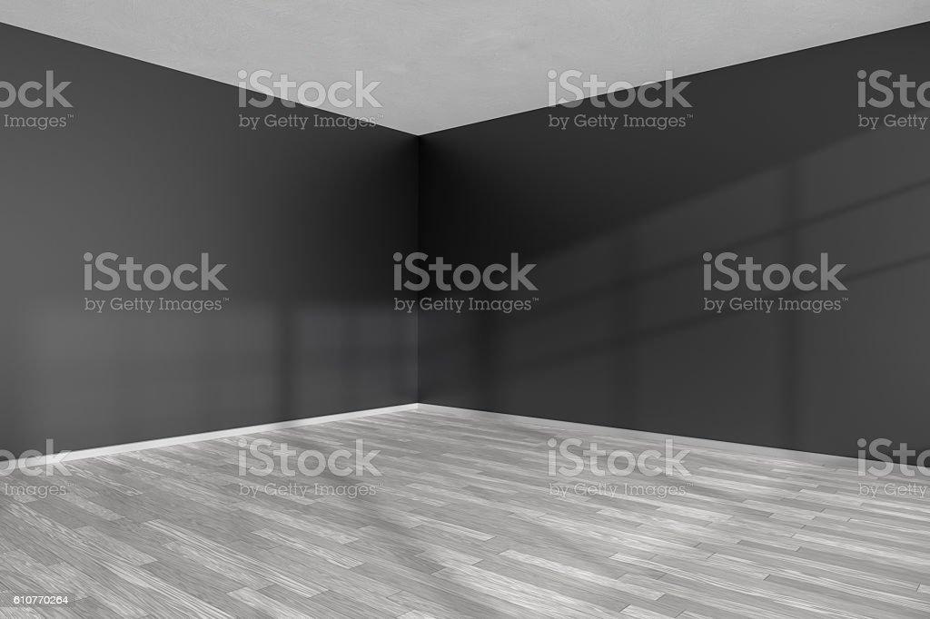Empty room corner with white parquet floor and black walls stock photo
