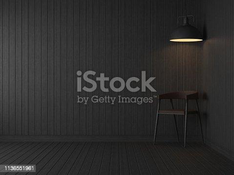 902720222istockphoto Empty room dark room with black wood plank pattern 3d render 1136551961