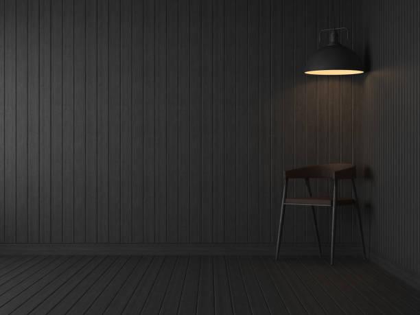 Sala vacía habitación oscura con patrón de madera negro tablón Render 3D - foto de stock
