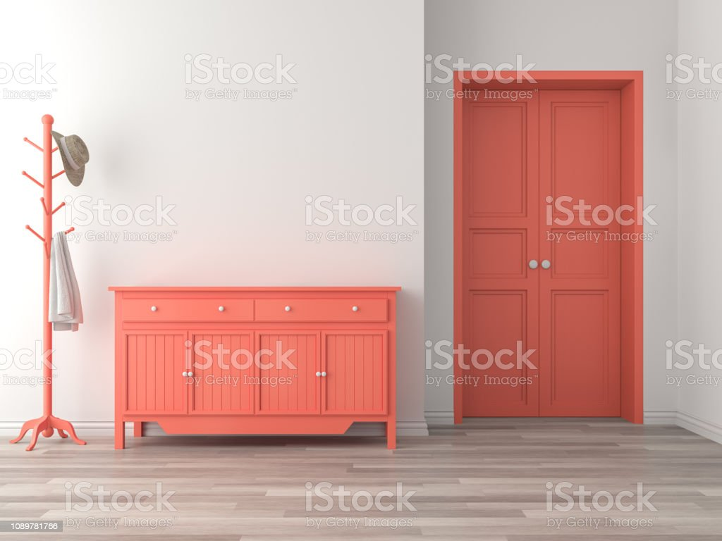 Empty room entrance hall interior with coral color concept 3d render stock photo