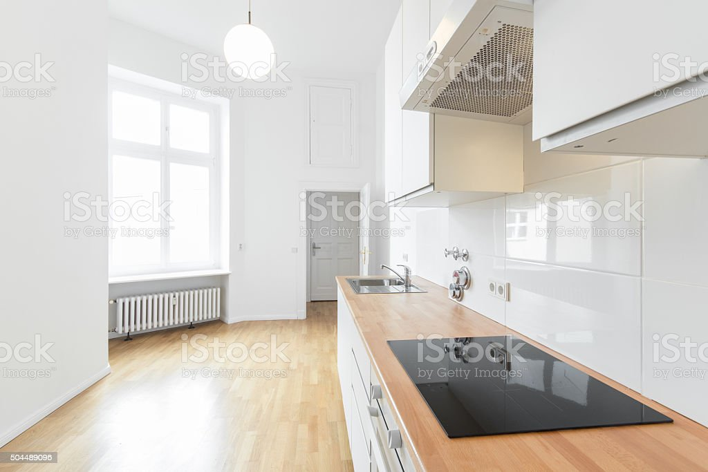 empty room, fresh renovated flat with wooden floor, stock photo
