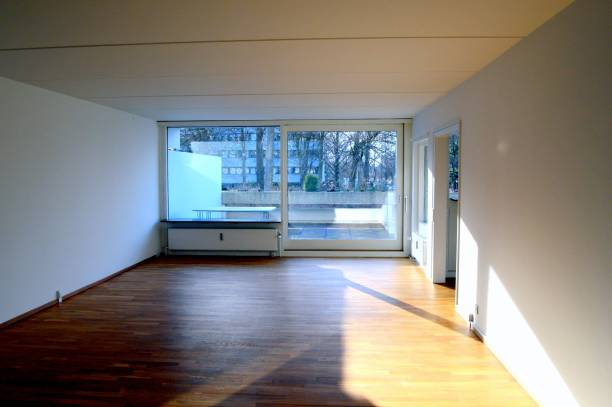 Empty room in apartment for sale stock photo