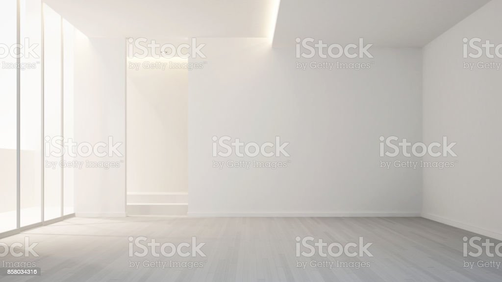 empty room in apartment or hotel for artwork - clean design - Interior design - 3D Rendering stock photo