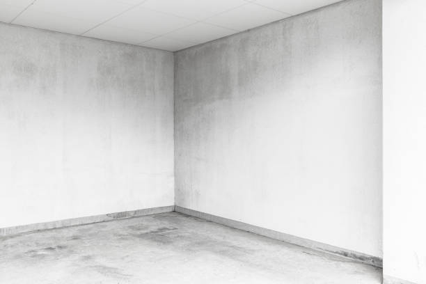 Empty room in the basement stock photo