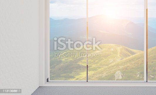 Empty room in the business center, in bright colors. Office background. 3D rendering. Sunset. mockup