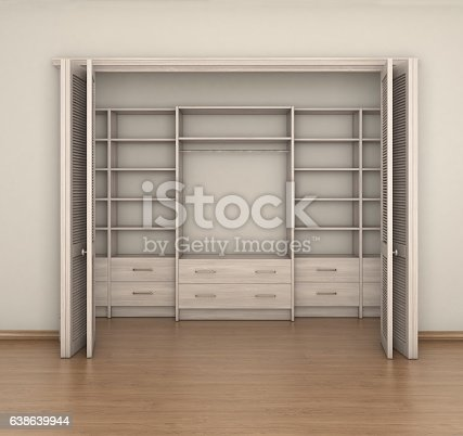 Empty Room Interior And Big Closet 3d Illustration Stock Vector Art More Images Of Brown 638639944