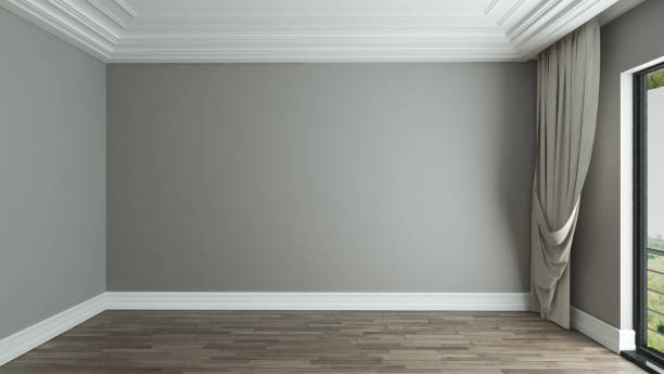 empty room interior background with curtain stock photo