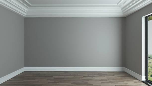 fond intérieur salle vide avec plafond décoratif - Photo
